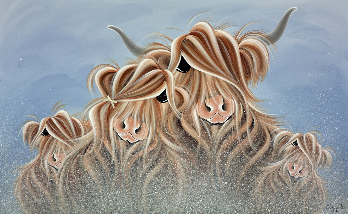 Fa-moo-ly Together in the Mist by jennifer hogwood -  sized 38x24 inches. Available from Whitewall Galleries